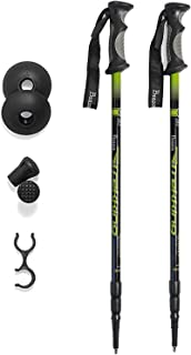 product image for Brazos Trekking Poles: Collapsible Hiking/Walking Stick with Integrated Anti Shock Technology and Interchangeable Tip - Adjustable Height Trail Poles for Men and Women - 2 Pack, Green, Black