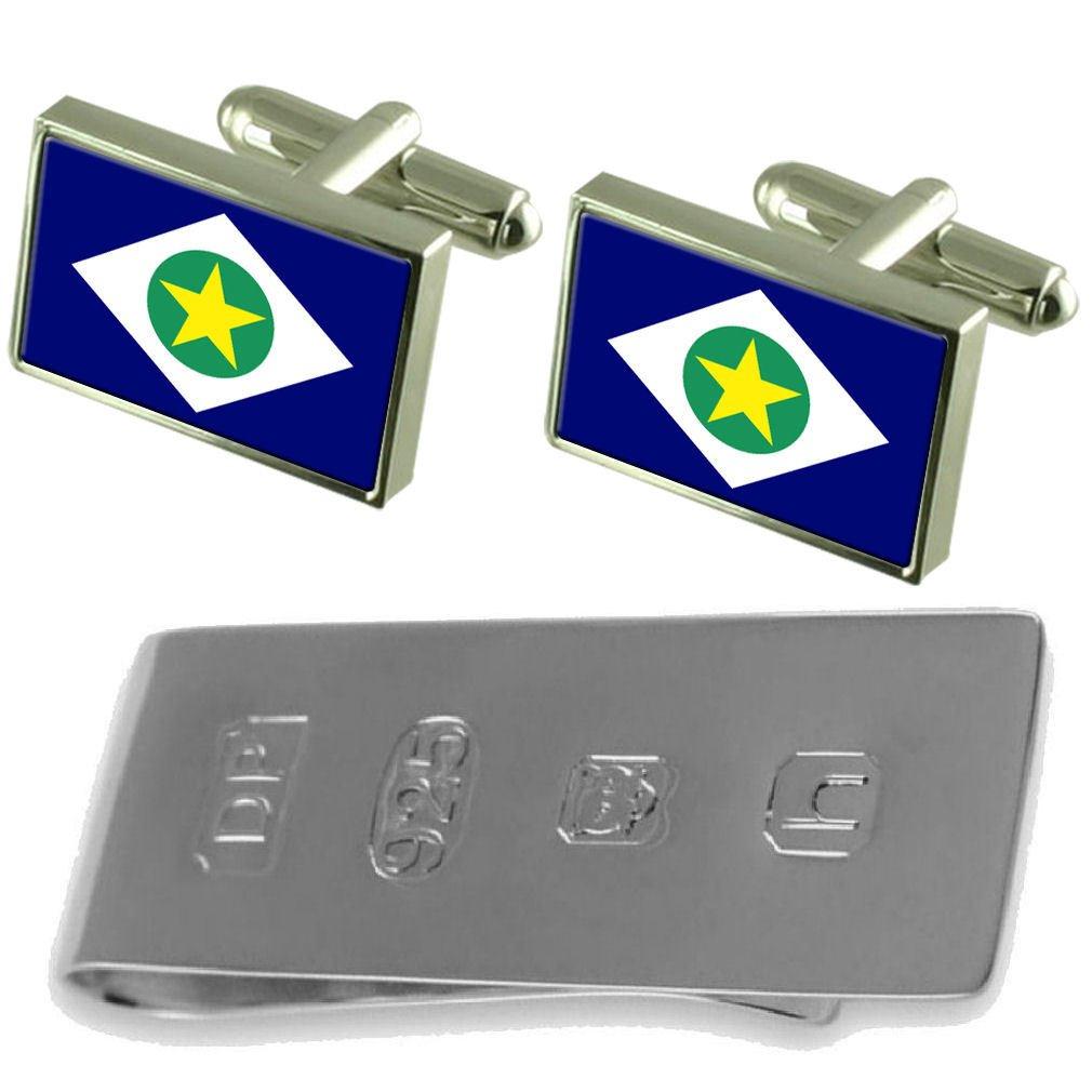 Select Gifts Mato Grosso Flag Cufflinks /& James Bond Money Clip