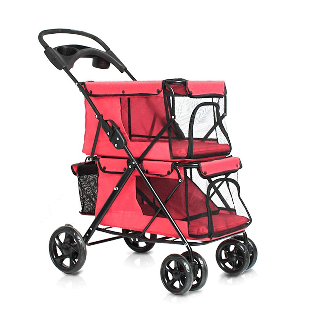 Four-Wheeled Pet Stroller, Double-Layer Folding Portable Pet Carrier, Cat and Dog Universal Outdoor Travel Nest Red