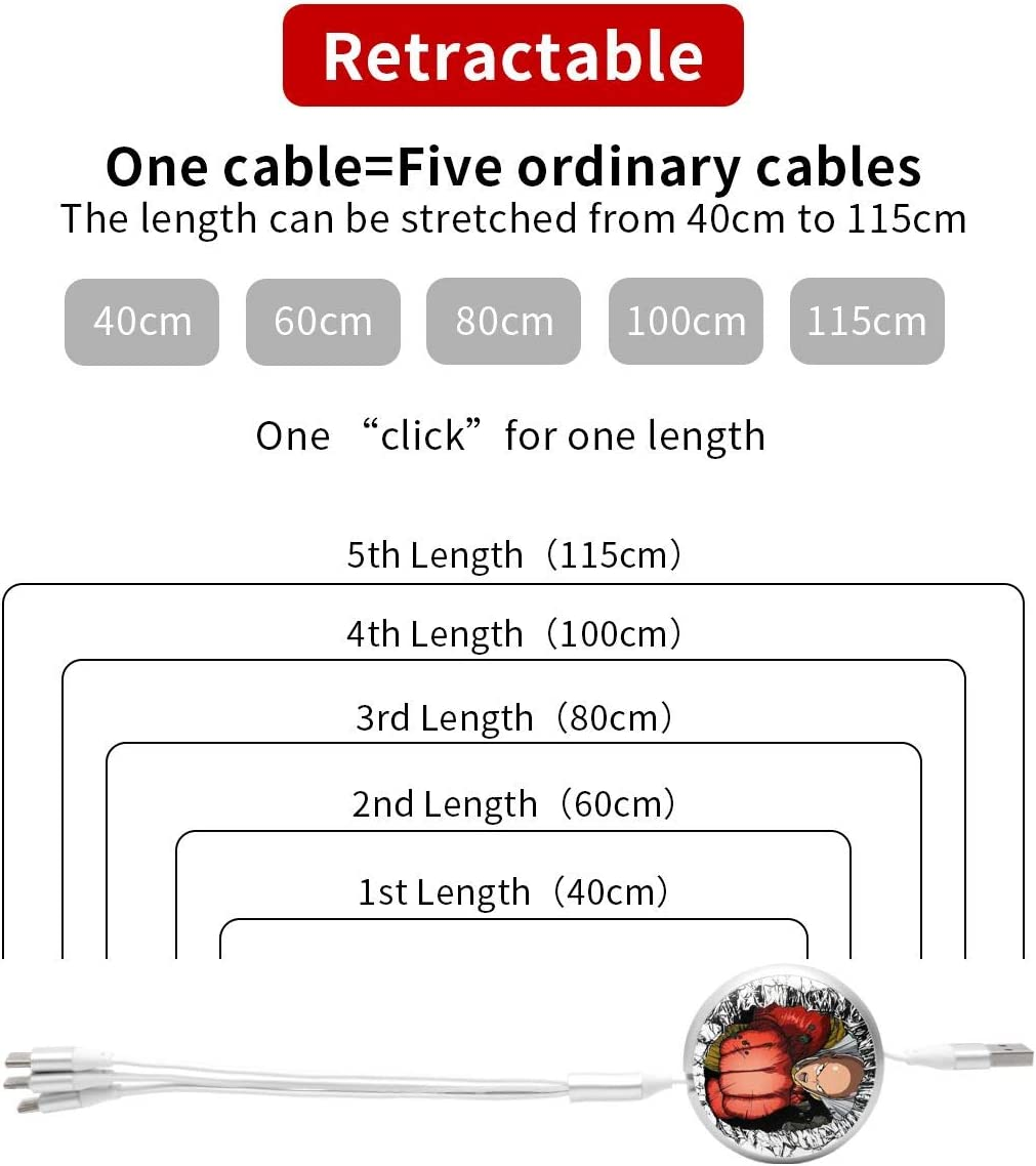 Android N//C One Punch Man3-In-1 Telescopic Multi-Function Charging Cable Etc. Suitable for Apple Tpye-C Universal Interface
