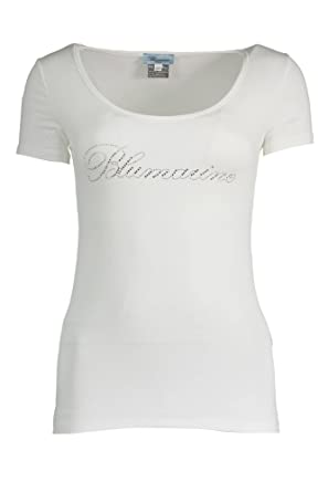 the latest 0e8fb 9f43f Blumarine Q49 T-Shirt Maniche Corte Donna (Bianco 02, 44)