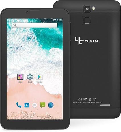 Tablet 7 Pulgadas Android 7.0 YUNTAB 3G Smartphone,CPU Quad-Core 1.3GHz,1 GB RAM + 16 GB ROM,Dual SIM Dual Cámara,Pantalla táctil IPS, WiFi Bluetooth(Negro): Amazon.es: Informática