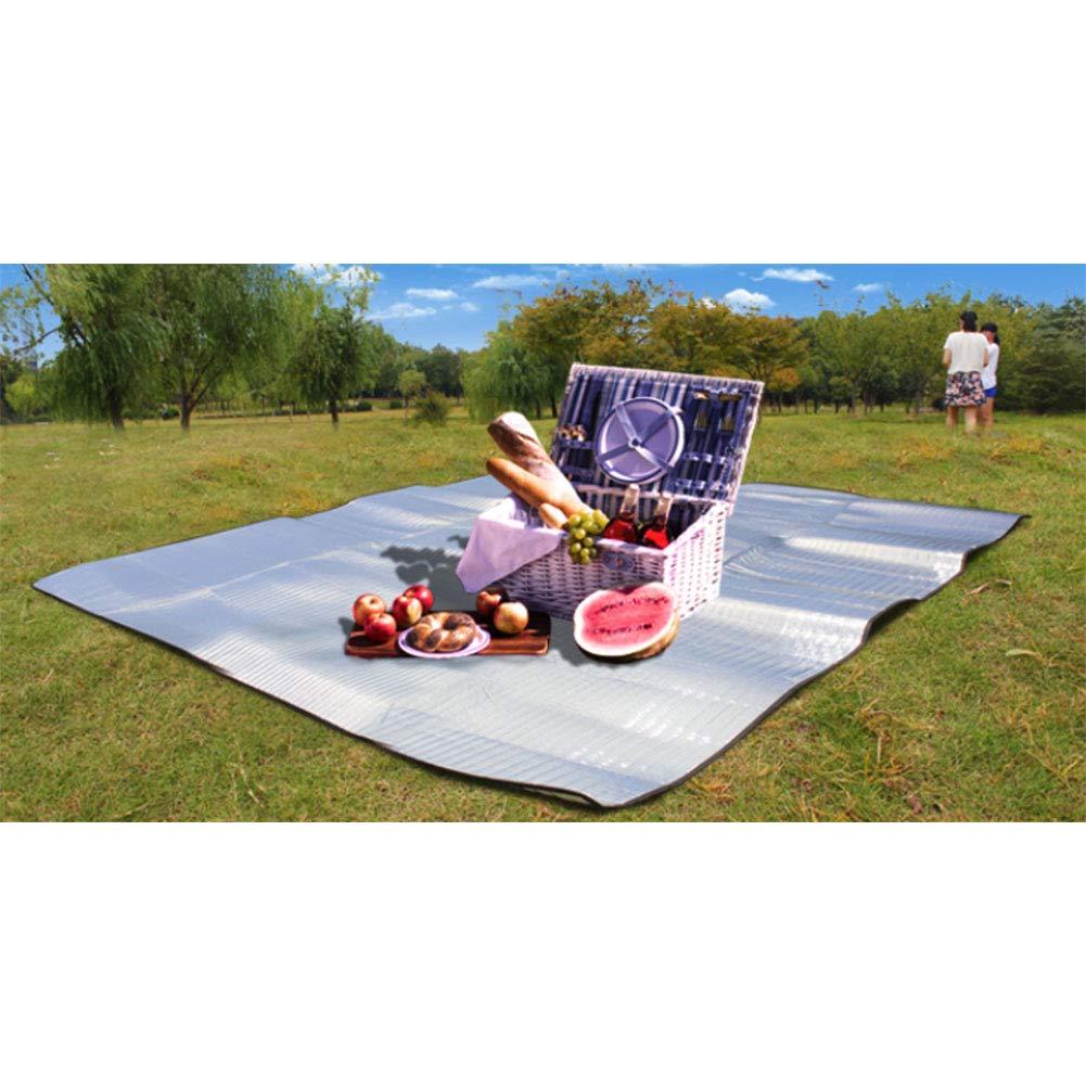 Double Side Picnic Blanket Mat Aluminum Foil Foam Outdoor Dampproof Mat Beach Cushion BBQ Pad Portable Waterproof Moistureproof Foldable for Camping Yoga Lawn Mat Cushion