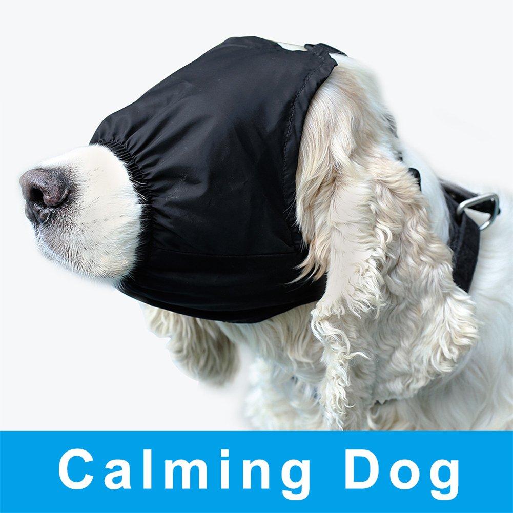 DELIFUR Dog Calming Cap Eye Mask Nylon Shading Pet Anxiety Mask Muzzle for Grooming Anti Car Sickness L
