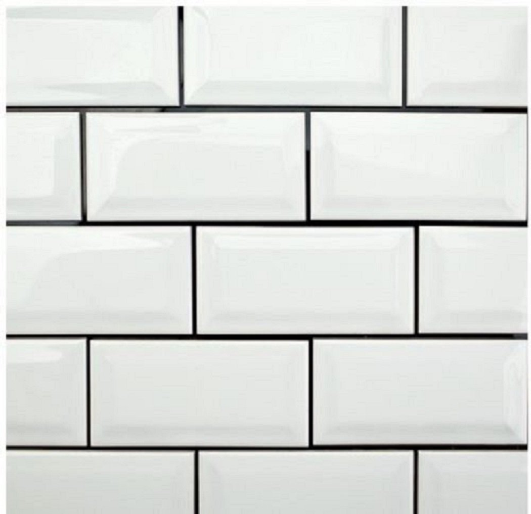 Amazon white 3x6 subway glossy beveled edge tiles kitchen amazon white 3x6 subway glossy beveled edge tiles kitchen bathroom shower 1 sqft 8pcs home kitchen dailygadgetfo Image collections