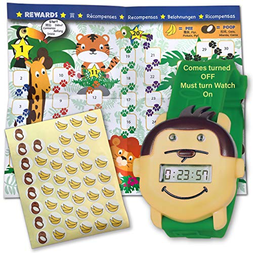 Potty Monkey Watch | Potty Training Reminder Watch with Colorful Fun Reward Chart and Stickers