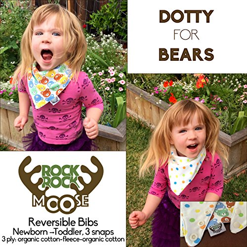 Rock Rock Moose Reversible Baby Bandana Drool Bib With Gift Bag in Super Absorbent 3 Ply Organic Cotton with 3 Adjustable Snaps to Grow with Baby