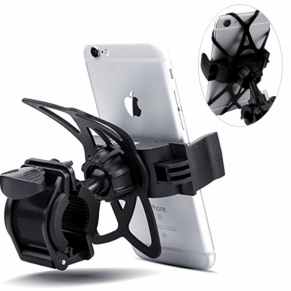 Bike Mount, Yakecan Adjustable Bike Phone Mount & Motorcycle Holder Cradle For iPhone 8 7 6 Galaxy S9 S8 S7 or any Smartphone & GPS - Mountain Bike Mount Bike Accessories Heavy-Duty Black CR-11
