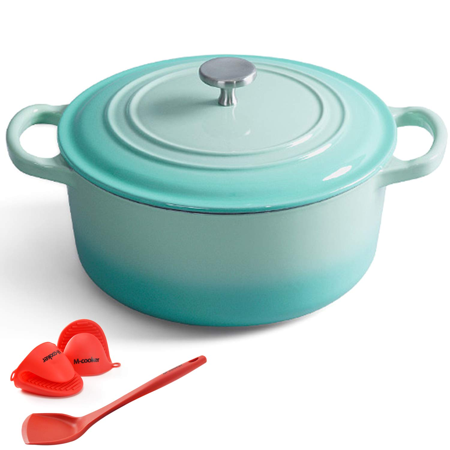 M-cooker 4.5 Quart Enameled Dutch Oven with Self Basting Lid Household Cast Iron Soup Pot Non-stick Enamel Pot with Silicone Gloves and Anti-hot Silicone Shovel (Mint Blue)