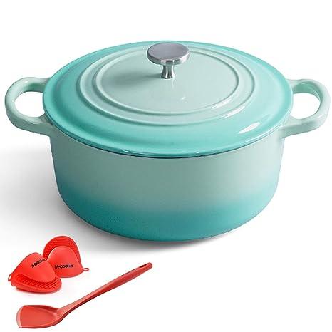 M-Cooker olla de hierro fundido esmaltada de 4.5 cuartos con tapa de autosuficiencia,