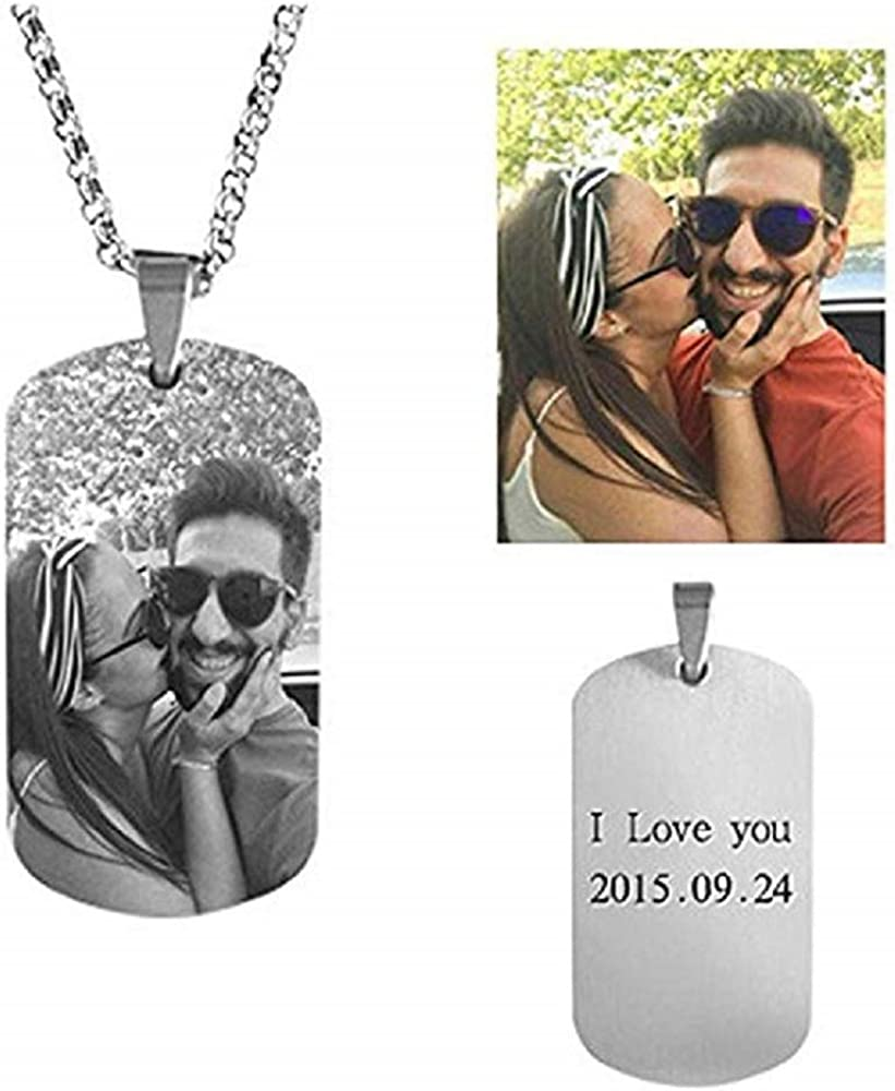 Fancary Personalized Photo Text Dog Tags Necklace Pendant Stainless Steel Custom Engraving Any Picture//Name for Men Women