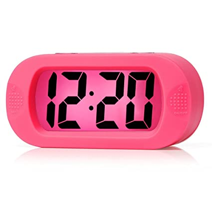 Easy To Set Plumeet Large Digital LCD Travel Alarm Clock With Snooze Good Night Light