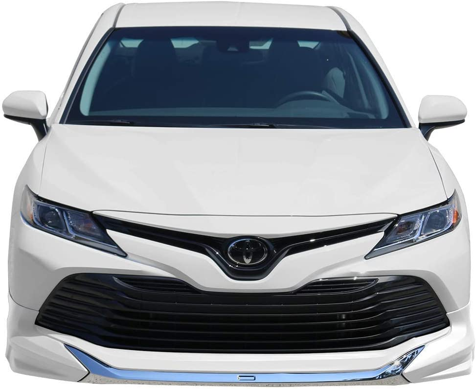 Front Bumper Lip Compatible With 2018-2020 Toyota Camry LE MD Style Front Lip Splitters Unpainted With Chrome Trim By IKON MOTORSPORTS