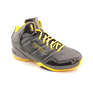 6d1d2ab6b22fa AND1 Men's Master Mid Black/Warrior Gold Mid Top Athletic Basketball  Sneakers