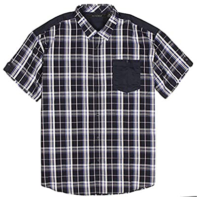 Sean John Mens Big and Tall Plaid Woven Short Sleeve Shirt (5XB, Navy Blue)