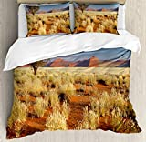 Landscape Duvet Cover Set by Ambesonne, Acacia Tree Desert Sossusvlei Namibia Southern Africa Photo, 3 Piece Bedding Set with Pillow Shams, King Size, Marigold Sky Blue and Green