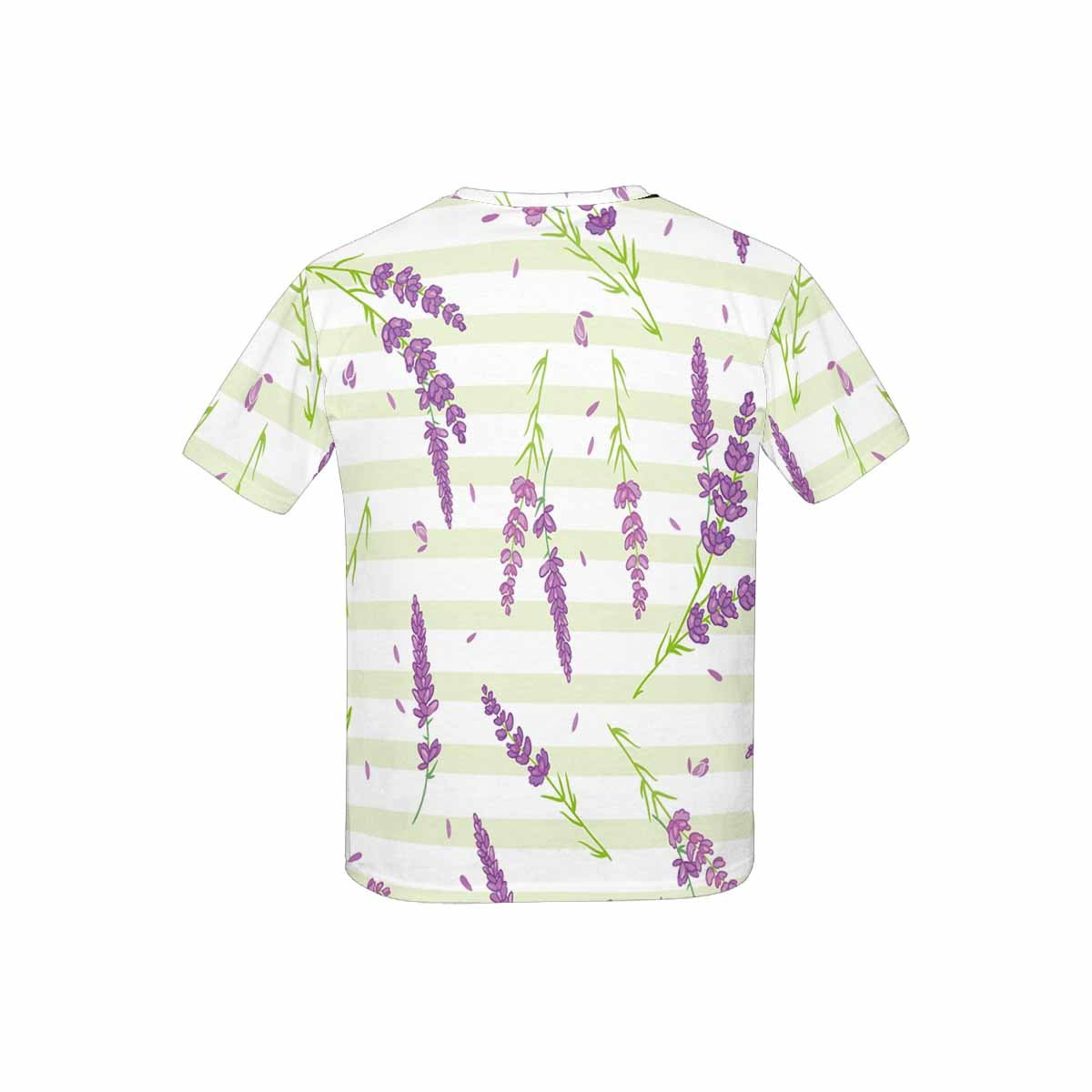 XS-XL INTERESTPRINT Childs T-Shirt Lavender Flowers Purple Green Sitripes