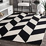 nuLOOM Handmade Retro Checker Tiles Black and White Area Rugs, 4' x 6', Black and White