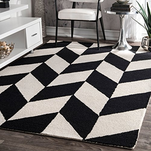 nuLOOM Handmade Retro Checker Tiles Black and White Runner Area Rugs, 2' 6