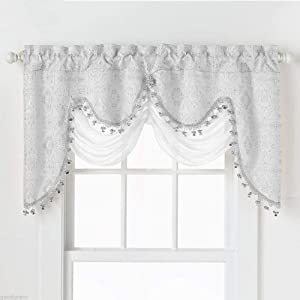 GoodGram Ultra Elegant Clipped Jacquard Georgette Fringed Window Valance with an Attached Sheer Swag Assorted Colors (White)