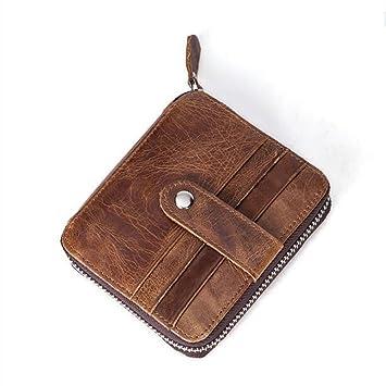 DcSpring RFID Cartera Tarjeteros Hombre Pequeñas Cuero Genuino Monedero Slim Piel Genuino Portatarjetas Mini Cremallera Vintage: Amazon.es: Equipaje