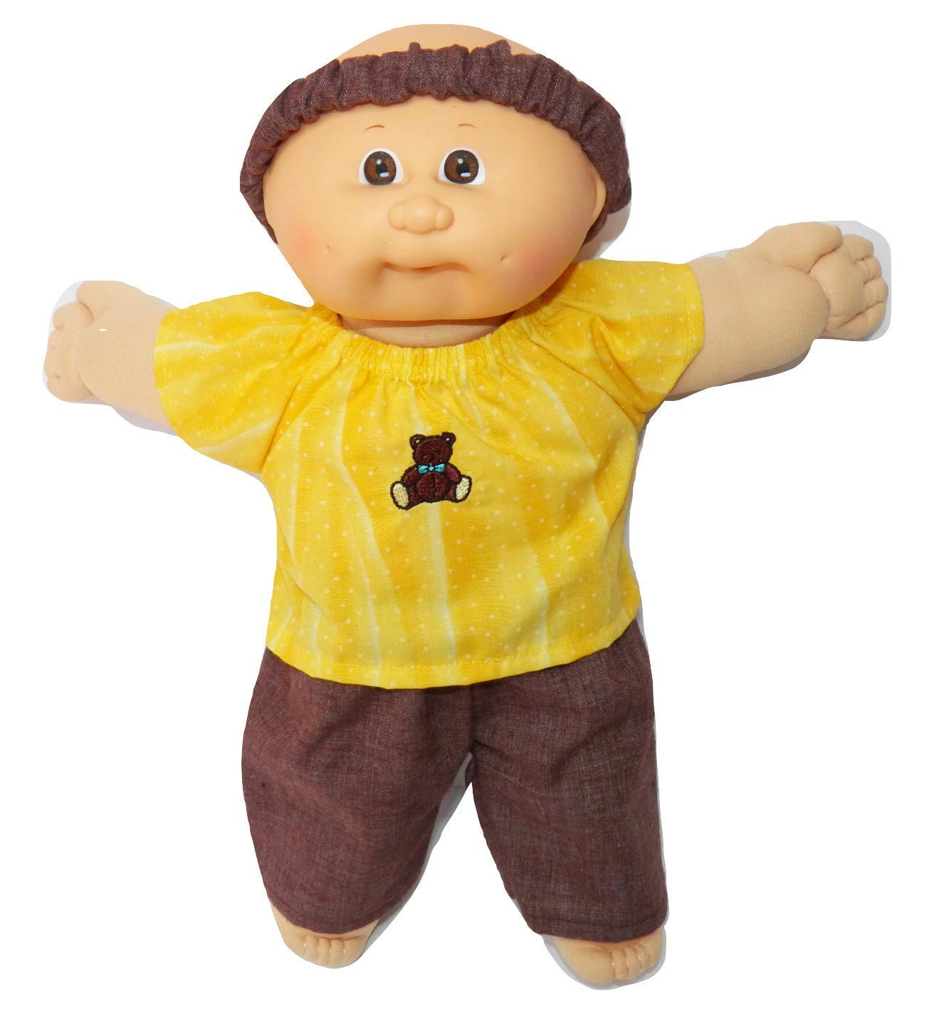Cabbage Patch Doll Clothes Fits 14 Inch Girl or Preemie Yellow Embroidered Teddy Bear Blouse Brown Pants Headband No Doll