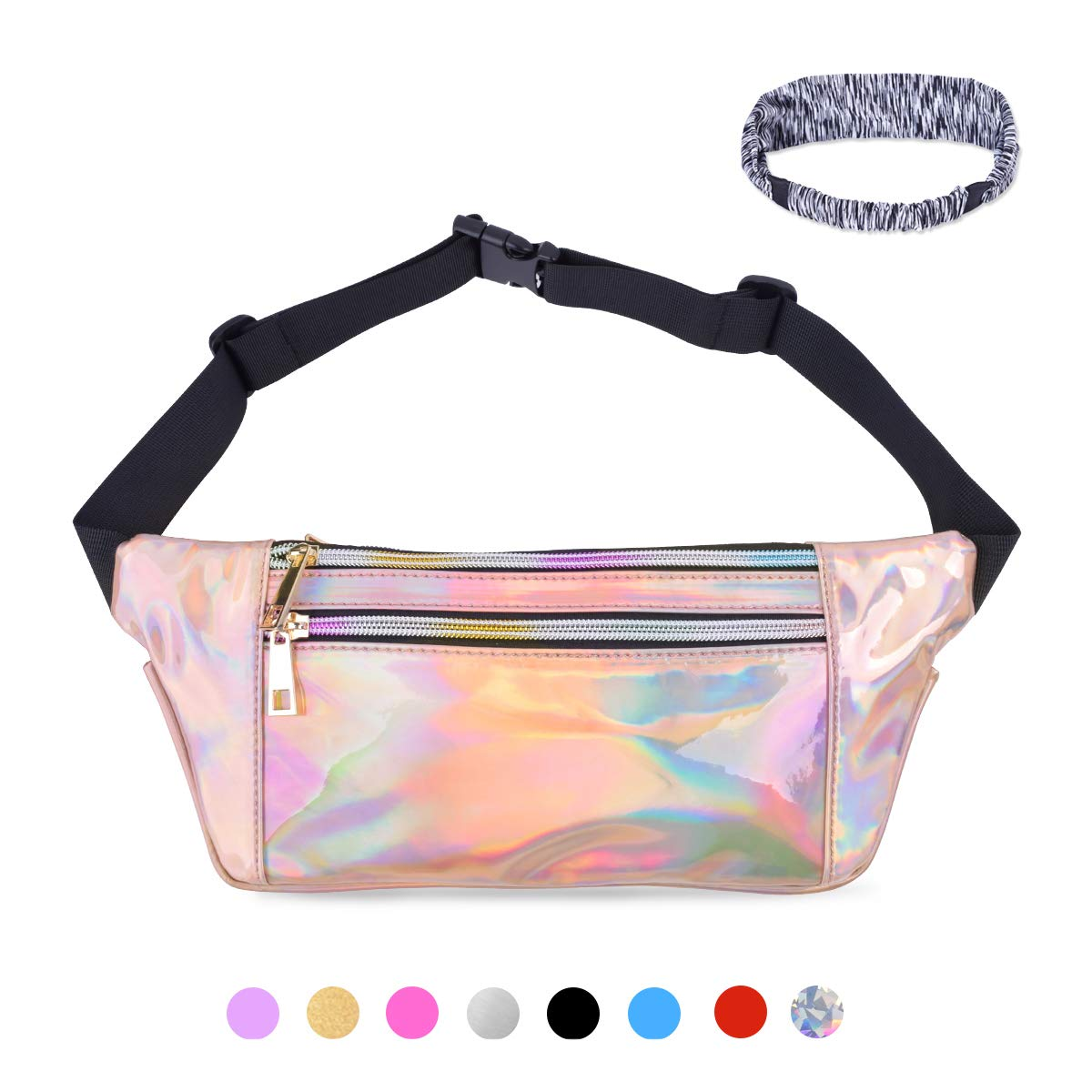 831340ea90d2 Suxman Holographic Fanny Pack for Women and Men, Fashion Cool Fanny Packs  for Girls, Waterproof Shiny Waist Pack with Adjustable Belt for Festival,  ...