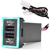 MICTUNING Dual USB 6.4A QC3.0 Quick Charger with LED Light Replacement for Toyota (Surface Size 1.3 x 0.9 inches)