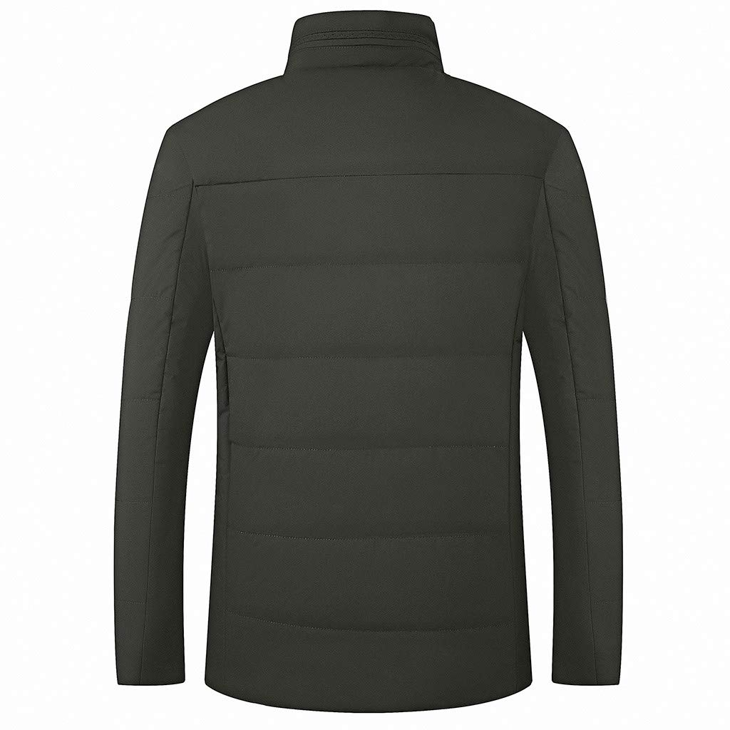 VOWUA Mens Stand Collar Cotton Coat Autumn and Winter Long Sleeve Jacket Middle and Old Warm Cotton Suit S-3XL