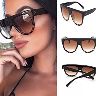 d99233f433c7eb Image Unavailable. Image not available for. Colour: Flat Top Oversized  Sunglasses, Tortoise Shell, Leopard Print ...