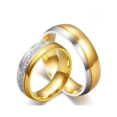 b0b9e3695b3 BOBIJOO Jewelry - Alliance Bague Anneau Doré Or Fin Acier Inoxydable Mariage  Femme Homme Argenté  Amazon.fr  Bijoux