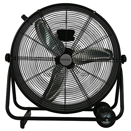 Heavy Duty Ventilation Fan - Hurricane Drum Fan - 24 Inch | Pro Series | High Velocity | Heavy Duty Metal Drum Fan for Industrial, Commercial, Residential, and Greenhouse Use - ETL Listed, Black