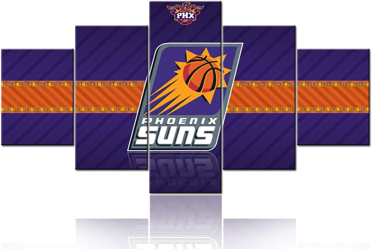 TUMOVO The Phoenix Suns Logo Painting Canvas Wall Art 5 Panel Basketball Sports Picture Living Room Decor NBA Artwork for Wall Poster Prints Framed Ready to Hang - 60''Wx32''H