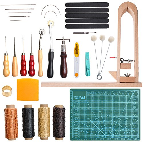 LAMPTOP 33 Pieces DIY Leather Craft Tools Hand Stitching Tool Set with Stitching Pony,Matting Cut, Groover Awl Waxed Thimble Thread, Basic Hand Stitching Sewing Tools for DIY Leather Craft Man - Mens Burnish Set Diamond