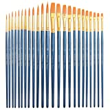 24 Piece Acrylic Paint Brushes Set - Best Acrylic Brush Pen Bulk, Round and Flat, Basic Paint Brush Kit for Classroom, Kids, Artist, Body, Acrylic, Watercolor Painting