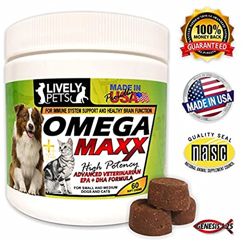 Omega Maxx Dog Treats Soft Chews - High Potency Omega 3 Fish Oil Supplement for Small Dogs up to Extra Large Breeds - Cat Treats - Skin and Coat Health for Pets - Dry Itchy Skin and Immune - Glistening Heart