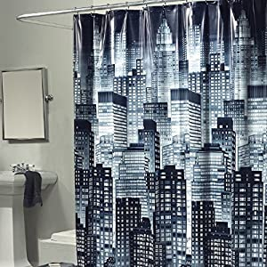 1 Piece Dark City Skyline Themed Shower Curtain, All Over Beautiful Graphic  Art Work , Gorgeous Abstract Big City Buildings Print, Adorable Night Look  ...