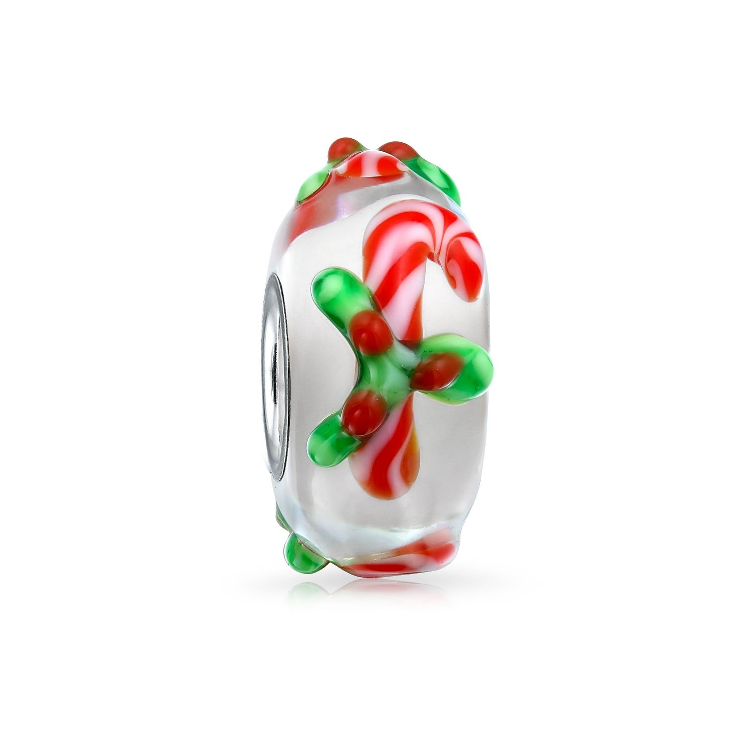 Christmas Peppermint Candy Cane Murano glass Lampwork Bead Charm .925 Silver