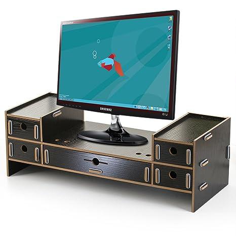 Blueidea® Oficina Soporte Aumentar de Madera Dock Soporte Pantalla Soporte Para iMac PC Portátil Elevated