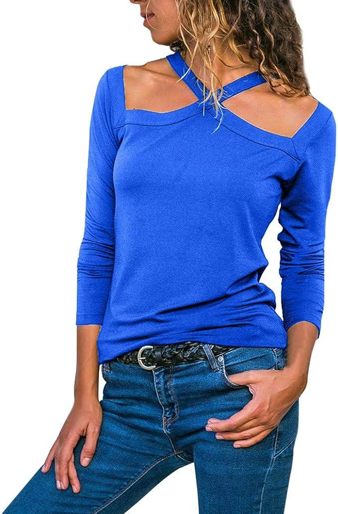 Camisetas de Manga Larga para Mujer Halter Sólido Blusa para Mujer ...