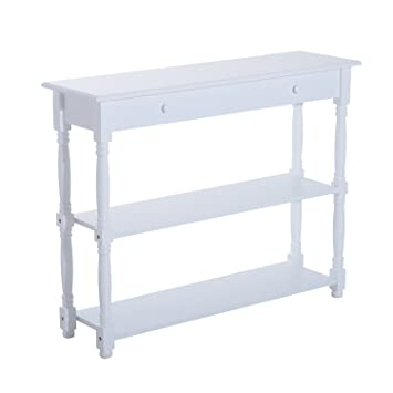 Superior HomCom 40u201d Pine Wood Entryway Console Table (White)