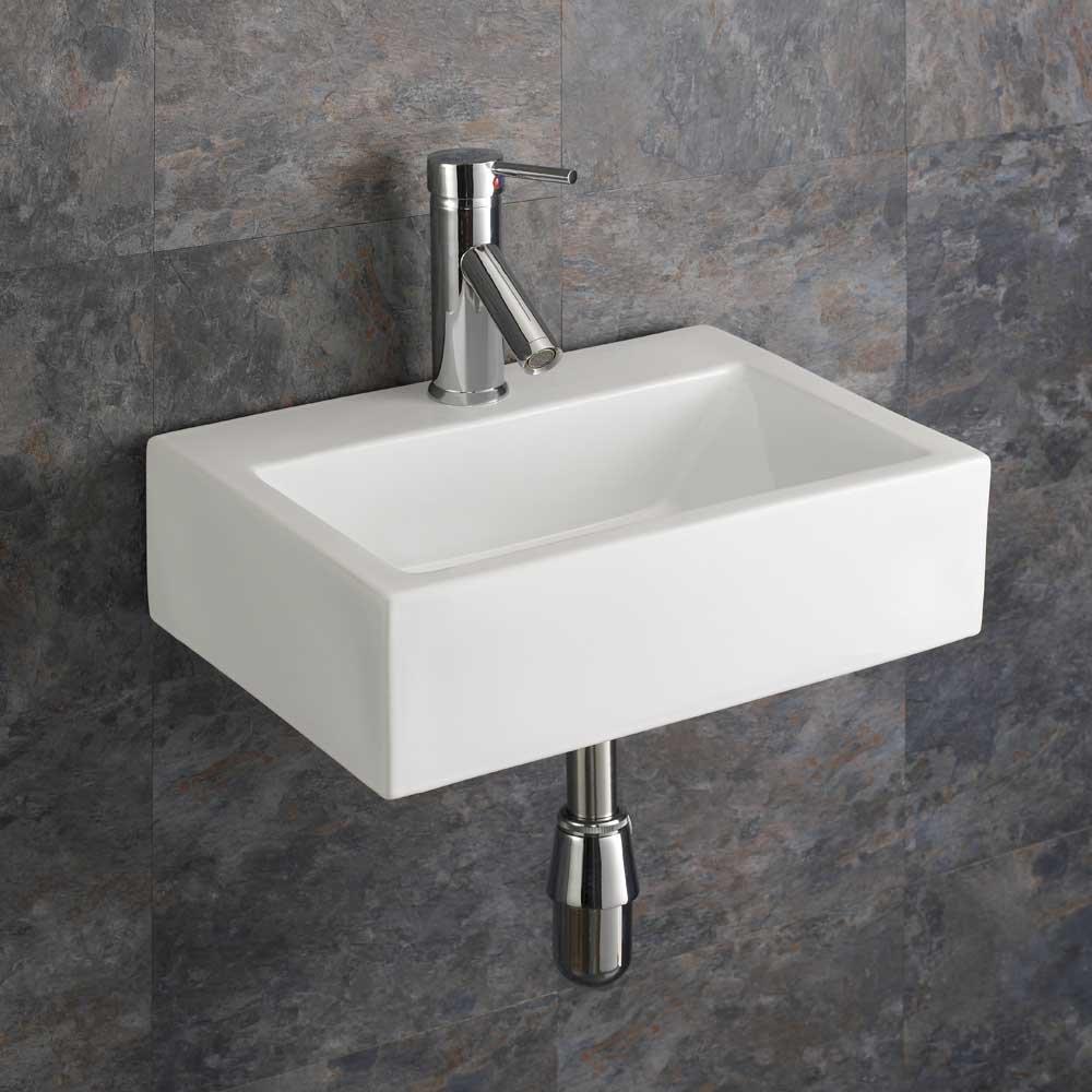 Clickbasin 43cm X 32.5cm Wall Mounted Barletta Ceramic Rectangular Sink