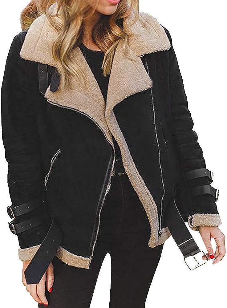 LUCKYCAT Abrigo de Lana de Piel sintética de Las Mujeres de Invierno Outwear cálido Chaqueta de Solapa Cuero Moto Cazadoras Corta Chaqueta con Cremallera