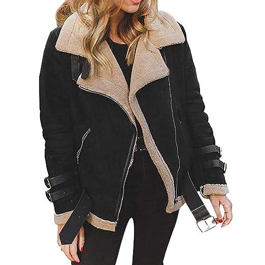 Leoy88 Winter Women Faux Fur Fleece Coat Outwear Warm Lapel Biker Motor Aviator Jacket