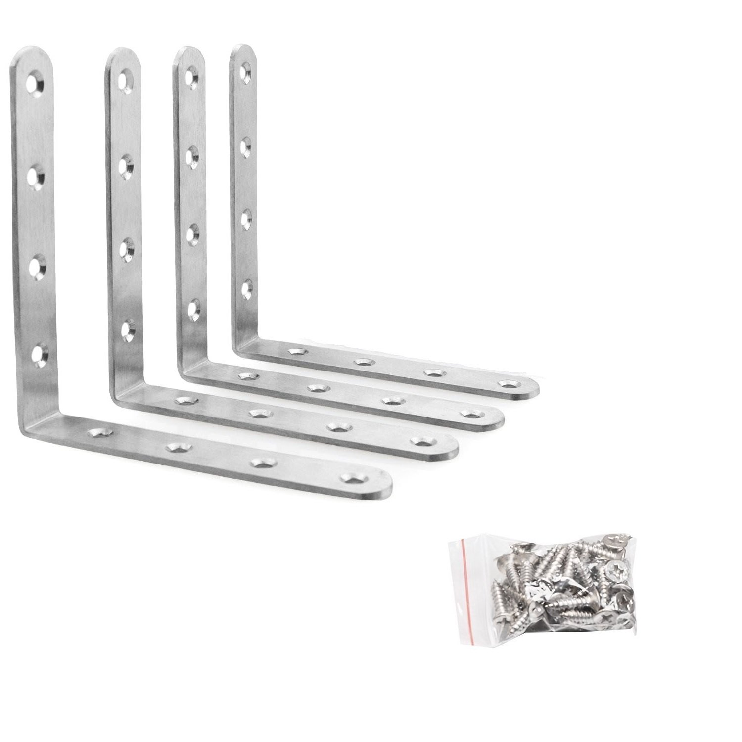 90 Degree Right Angle Brackets Stainless Steel Corner Braces with Screws(125mm x 125mm(5'' x 5'')), 4 Pack by Farmunion