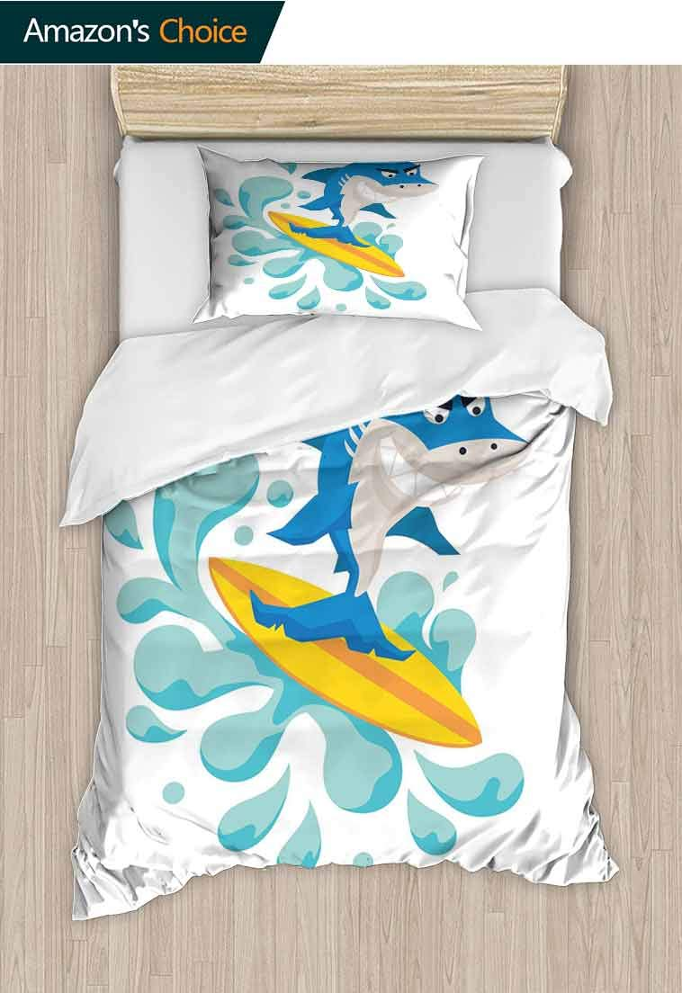 carmaxshome Ride The Wave Custom Made Quilt Cover and Pillowcase Set, Funny Shark Surfing in The Ocean Athletic Fish Graphic Art, Decorative 2 Piece Bedding Set with 1 Pillow Sham, 79 W x 90 L Inches by carmaxshome