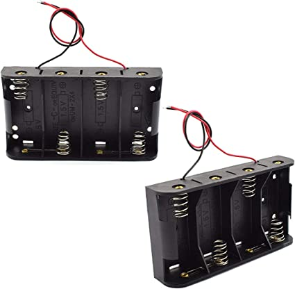 SDTC Tech 2-Pack 1x C Cell Battery Holder 1.5V C Size Battery Case Box with Wire Leads