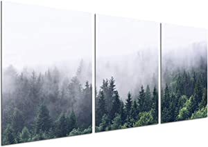 Foggy Forest Canvas Wall Art - Misty Landscape Canvas Print Mountain Trees Scenery Natural Modern Home Office Decor Poster Wall Pictures Living Room Bedroom Decoration Unframed 12''x16'' 3 Piece