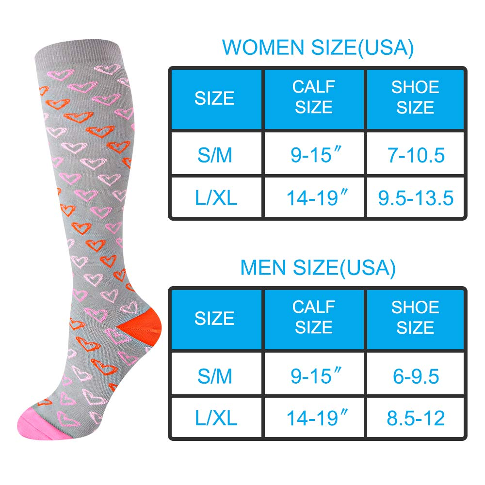 EHbee 3 Pairs Compression Socks for Women & Men 15-20 mmHg, Perfect Compression Stockings for Nurse,Running, Maternity Pregrancy, Flight, Travel, Medical,Sport. (Assorted1, L/XL) by EHbee (Image #2)