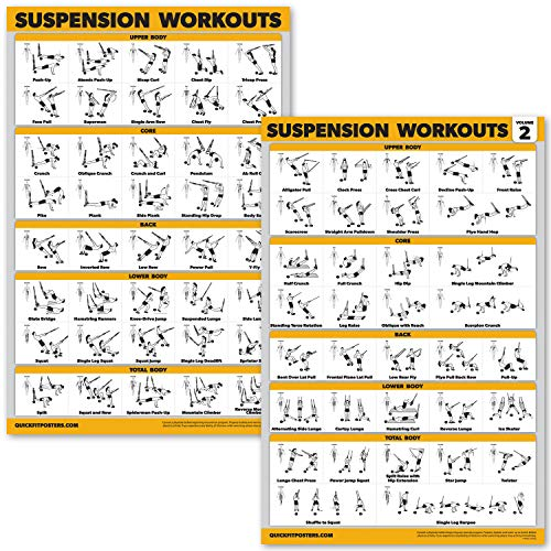 QuickFit 2 Pack Suspension Workout Posters - Volume 1 & 2 - Laminated Exercise Charts - 18